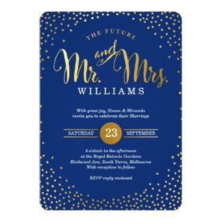 モダンでスタイリッシュな結婚式の金ゴールドの紙吹雪の濃紺 カード