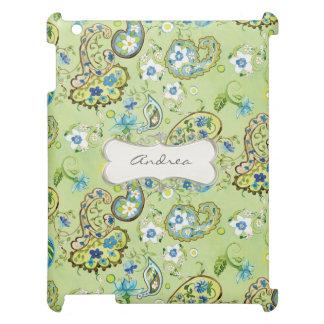 モダンでプレッピーなペイズリー花パターン渦巻フレーム iPadケース