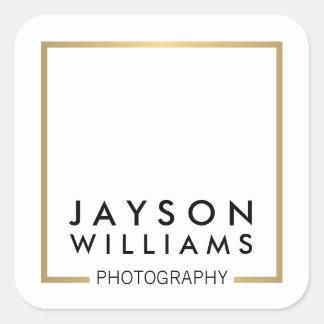 モダンでミニマルなカメラマンの金ゴールドの正方形のロゴI スクエアシール