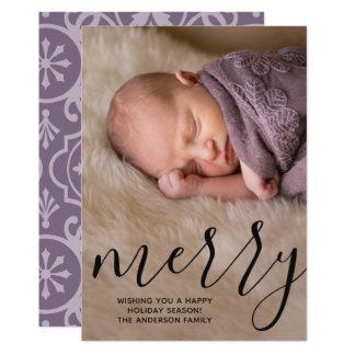 モダンでメリーな書道-完全な縦の写真 カード