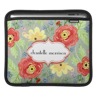 モダンでモダンな花のRanunculusの葉のばら色ブラケット iPadスリーブ