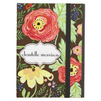 モダンでモダンな花のRanunculusの葉のばら色ブラケット iPad Airケース