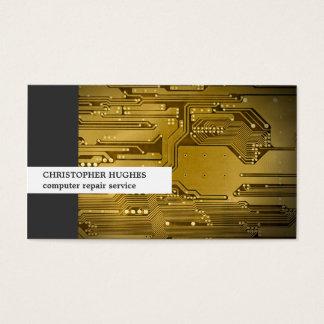 モダンでユニークな写真の金ゴールドのサーキットボードコンピュータ 名刺
