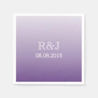 モダンでロマンチックな夏の薄紫のグラデーションな紫色の結婚式 スタンダードカクテルナプキン
