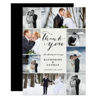 モダンで上品な写真のコラージュの結婚式のサンキューカード カード
