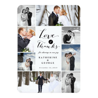 モダンで上品な写真のコラージュの結婚式のサンキューカード 12.7 X 17.8 インビテーションカード