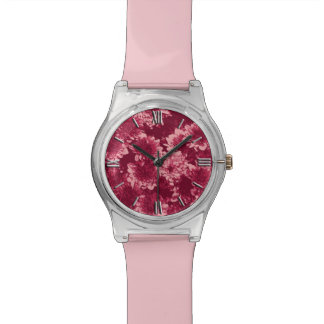 モダンで写実的なダリアのパターン、バーガンディおよびピンク 腕時計