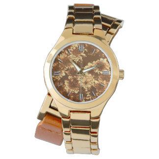 モダンで写実的なダリアのパターン、ブラウンおよび金ゴールド 腕時計