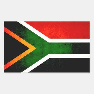 モダンで刃の鋭い南アフリカの旗 長方形シール
