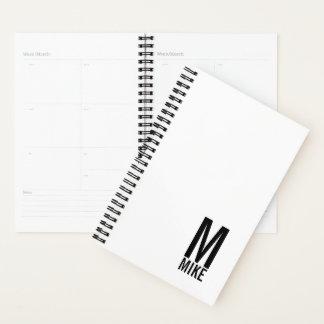 モダンで名前入りではっきりしたなモノグラムおよび名前 プランナー手帳