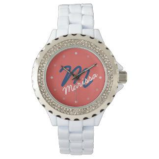 モダンで名前入りなモノグラムの女性用腕時計 腕時計