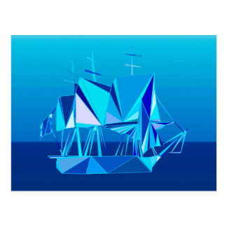 モダンで幾何学的なクリッパー船、コバルトブルー ポストカード