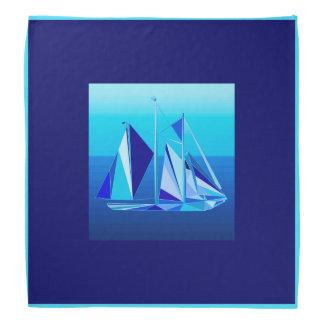モダンで幾何学的なヨット/ヨット、コバルトブルー バンダナ