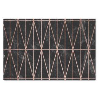 モダンで幾何学的な三角形のばら色の金ゴールドの黒の大理石 薄葉紙