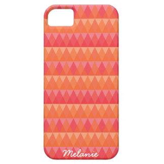 モダンで幾何学的な三角形パターン珊瑚及びピンクの芸術 iPhone SE/5/5s ケース