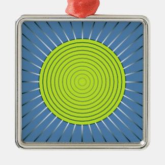 モダンで幾何学的な日が差すこと-ライムおよびデニムの青 メタルオーナメント