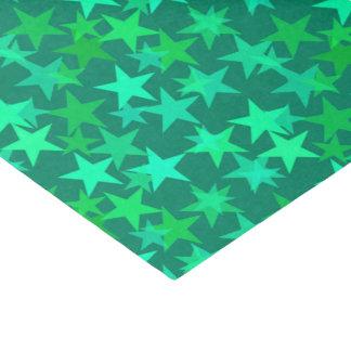 モダンで幾何学的な星、エメラルドおよびミントの緑 薄葉紙
