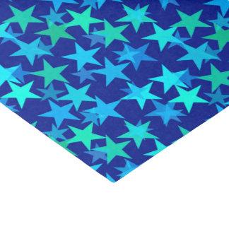 モダンで幾何学的な星、コバルトブルーおよびターコイズ 薄葉紙