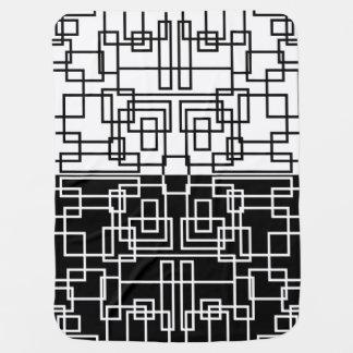 モダンで幾何学的な正方形BWの組合せ ベビー毛布