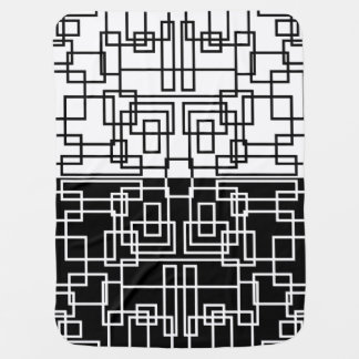 モダンで幾何学的な正方形BWの組合せ ベビー ブランケット