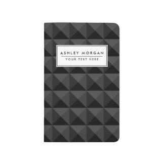モダンで幾何学的な黒い正方形パターン ポケットジャーナル