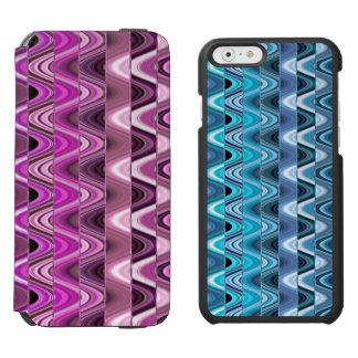 モダンで抽象的でカラフルなピンクの波パターン iPhone 6/6Sウォレットケース