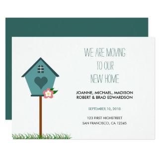 モダンで新しい家、家、私達は発表を動かしています カード