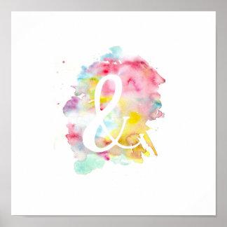 モダンで明るい水彩画の白いアンパーサンドの記号 ポスター
