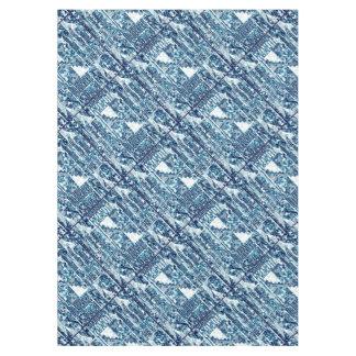 モダンで明るく青くはっきりしたなBoshi Shiboriのブロックのタイル テーブルクロス