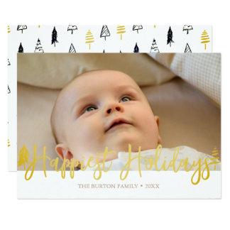モダンで最も幸せな休日の写真カード 12.7 X 17.8 インビテーションカード