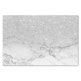 モダンで模造のな灰色の銀製のグリッターのグラデーションで白い大理石 薄葉紙