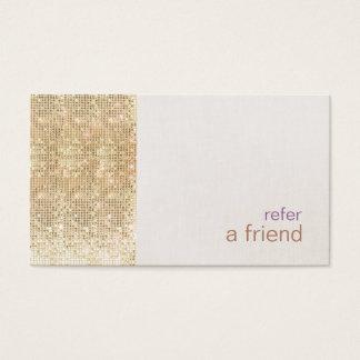 モダンで模造のな金ゴールドのスパンコールは友人カードサロンを参照します 名刺