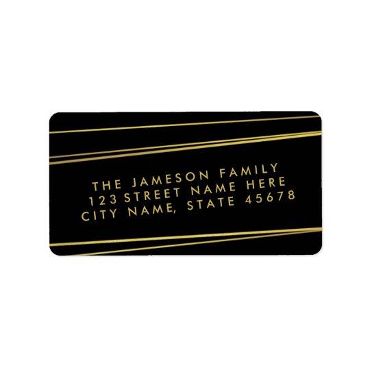 モダンで模造のな金ゴールドホイルの宛名ラベル/黒 宛名ラベル