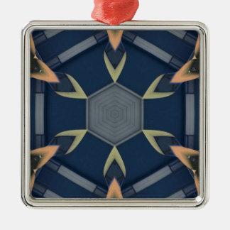 モダンで男らしく幾何学的な対称パターン メタルオーナメント
