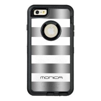 モダンで白い及び金属灰色の質は縞で飾ります オッターボックスディフェンダーiPhoneケース