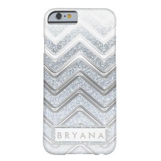 モダンで白い及び銀製の輝きのグリッターの電話箱 BARELY THERE iPhone 6 ケース