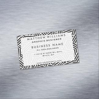 モダンで白くおよび黒いストライプのコラージュパターン マグネット名刺 (25枚パック)