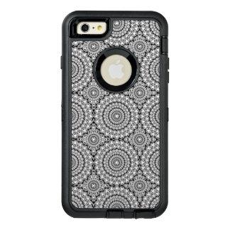 モダンで白くきらめくなダイヤモンドの円パターン オッターボックスディフェンダーiPhoneケース