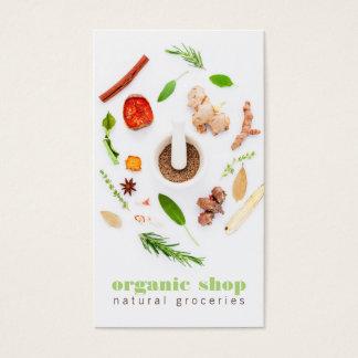 モダンで白く新しい無農薬食品の健康な料理 名刺