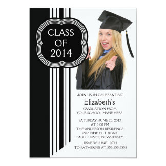 モダンで白く黒い写真の卒業パーティー カード