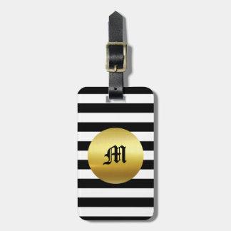 モダンで白く、黒い及び金ゴールドの荷物のラベル-モノグラム ラゲッジタグ