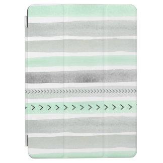 モダンで真新しい灰色白の水彩画のペンキは縞で飾ります iPad AIR カバー