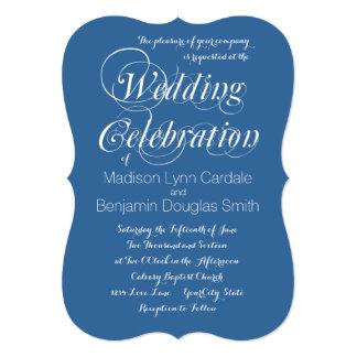 モダンで粋でエレガントで青い結婚式招待状 カード