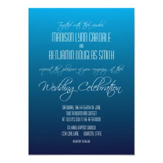 モダンで粋で青い勾配の結婚式招待状 11.4 X 15.9 インビテーションカード