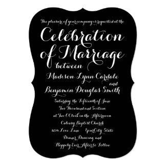 モダンで粋なタイポグラフィの黒の結婚式招待状 12.7 X 17.8 インビテーションカード