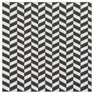 モダンで粋な白黒ヘリンボンパターン ファブリック