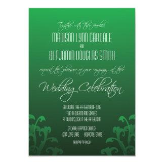 モダンで粋な緑の華麗さの結婚式招待状 11.4 X 15.9 インビテーションカード