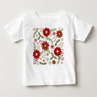 モダンで素朴なクリスマスの花 ベビーTシャツ