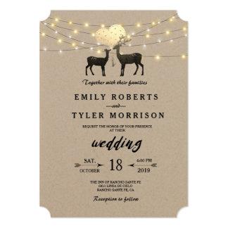 モダンで素朴な森林シカのひもは結婚式をつけます 12.7 X 17.8 インビテーションカード