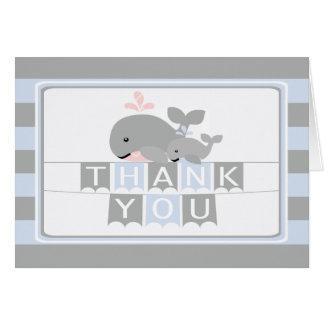 モダンで航海のなクジラのベビーシャワーは感謝していしています カード